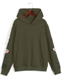 Floral Patched Front Pocket Hoodie - Army Green M