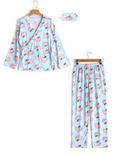 Loungewear Apple Wrap Top With Pants - Blue M