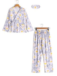 Loungewear Flower Wrap Top With Pants - Gray M
