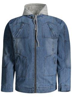 Hooded Denim Jacket - Denim Blue 4xl