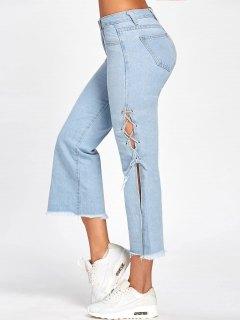 Lace Up Raw Hem Capri Jeans - Denim Blue Xl