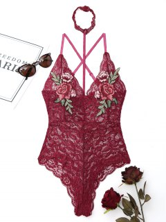 Lace Flower Embroidered Choker Teddy - Wine Red L