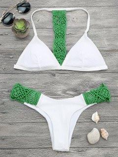 Padded Macrame Fishnet Bikini Set - Green S