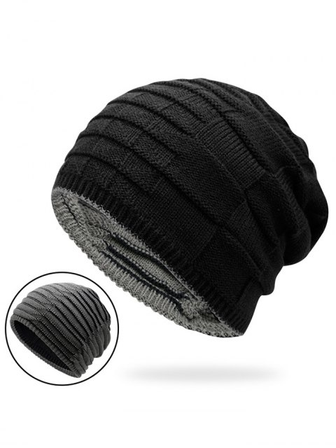 online Color Block Reversible Knit Hat - BLACK  Mobile