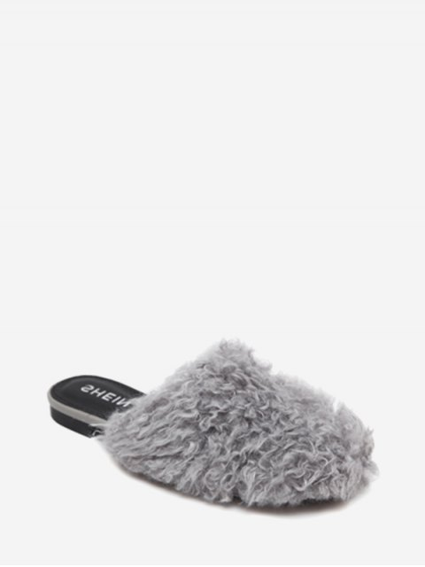 shop Flat Heel Faux Fur Slippers - GRAY 37 Mobile