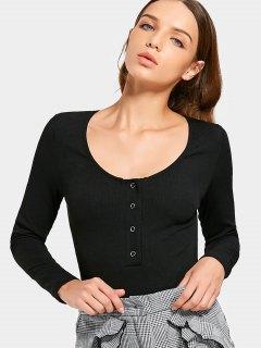 Long Sleeve Half Buttoned Bodysuit - Black S