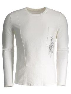 T-shirt Brodé à Manches Longues - Blanc 2xl
