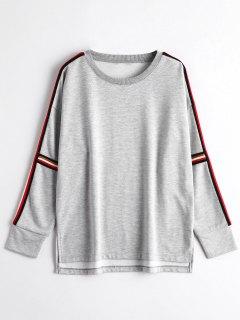 High Low Striped Sweatshirt - Gray S