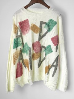 Graphic Cable Knit Panel Pullover Sweater - White