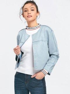 Button Up Faux Suede Jacket - Gray L