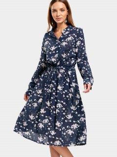 Drawstring Waist Tiny Floral Dress - Floral Xl