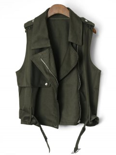 Belted Cropped Zip Up Waistcoat - Army Green