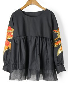 Voile Panel Embroidered Sequined Blouse - Black