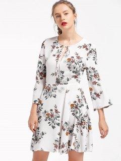 Floral Tie Neck Skater Dress - White L