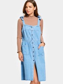 Robe Pinafore Boutonnière En Denim - Denim Bleu S