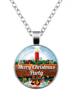 Merry Christmas Snowflake Bells Star Necklace - Silver