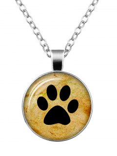 Dog Paw Pattern Round Charm Necklace - Silver