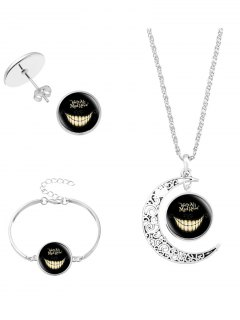 Alice's Evil Smile Moon Necklace Bracelet Earring - Silver