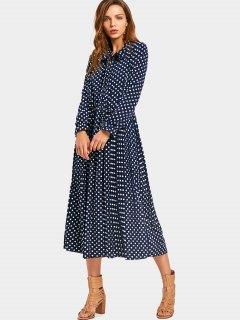 Bow Tie Collar Polka Dot Dress - Dot Pattern 2xl