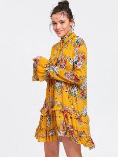 Long Sleeve Floral Ruffles Tunic Shift Dress - Yellow S