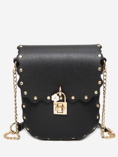 Chain Scallop Rivet Crossbody Bag - Black