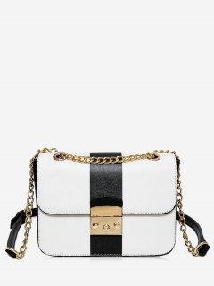 Chain Color Block Faux Leather Crossbody Bag - Black White