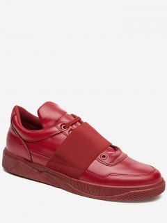 Elastic Band Faux Leather Casual Shoes - Red 41