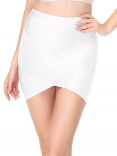 High Waist Mini Bandage Skirt - White S