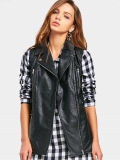 PU Leather Waistcoat - Black M