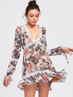 Robe Mi-longue à Manches Longues - Floral L