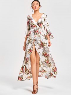 Floral High Split Flare Sleeve Surplice Dress - Floral L