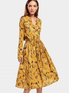 Drawstring Waist Long Sleeve Floral Dress - Floral M