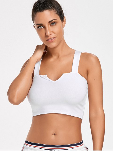 women's Casual Straps Crop Top - WHITE S Mobile