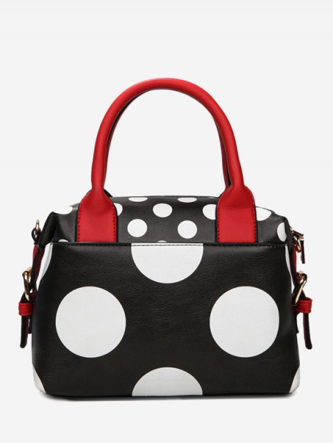 ladies Faux Leather Polka Dot Totes - BLACK  Mobile