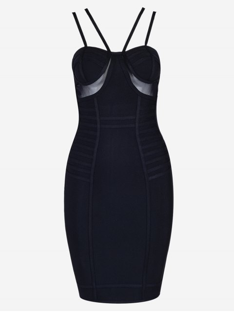outfit Mesh Panel Cami Bandage Dress - BLACK M Mobile