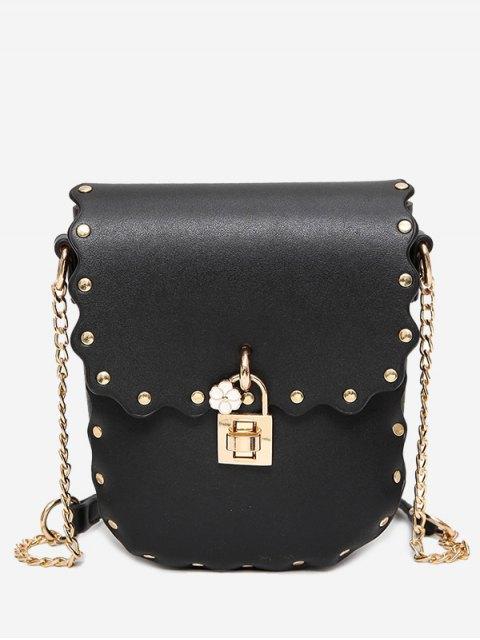 womens Chain Scallop Rivet Crossbody Bag - BLACK  Mobile