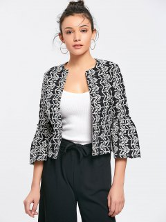Flare Sleeve Embroidered Open Front Blazer - Black M