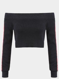 Stripes Panel Off Shoulder Knitwear - Black