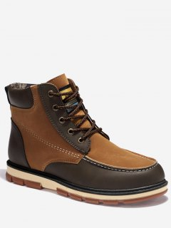 Moc Toe Color Block Ankle Boots - Brown 41