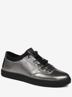 Bright Color Tie Up Low Top Casual Shoes - Gun Metal 41
