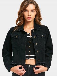 Letter Embroidered Frayed Hem Denim Jacket - Black M
