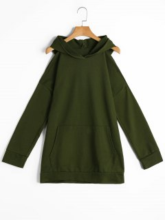 Long Cold Shoulder Hoodie With Pockets - Army Green Xl
