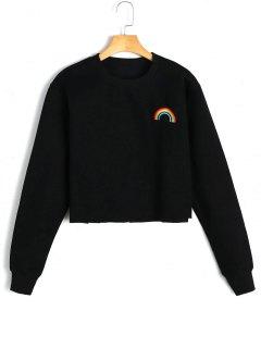 Fleeced Rainbow Embroidered Sweatshirt - Black S