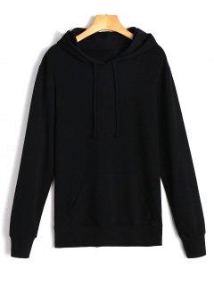 Drawstring Kangaroo Pocket Casual Hoodie - Black S