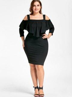 Plus Size Overlay Cold Shoulder Sheath Dress - Black 5xl