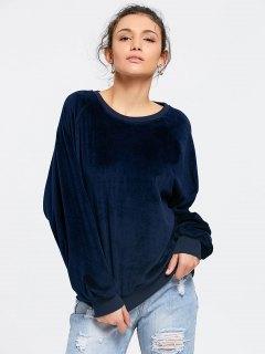 Casual Oversized Velvet Sweatshirt - Purplish Blue S