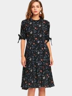 Mock Neck Floral Dress - Black M