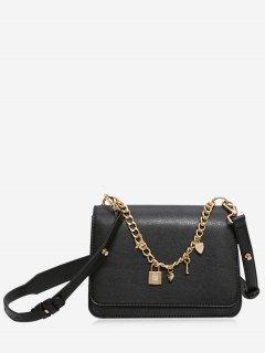 Heart Star Chain Crossbody Bag - Black