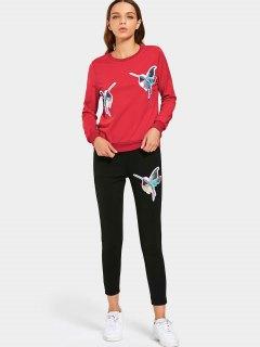 Sequined Bird Sweatshirt And Pants Set - Red M