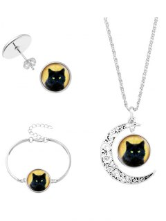Halloween Moon Cat Necklace Bracelet And Earrings - Silver